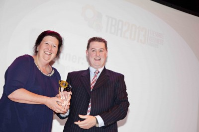 Deborah Jenkins Chair of the Barnard Castle Vision with Craig Sams from Eco Energ winner of the Most Innovative Business Award